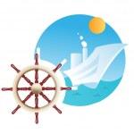 fartyget ratten och fartyg i bakgrunden — Stockfoto