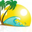 5 Abillustration of tropical landscape with beach with palm tree - Stock Photo