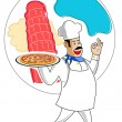 Chef with pizza — Stock Photo