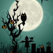 Halloween night in graveyard - Stock Photo