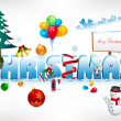 Royalty-Free Stock Photo: Christmas text on snowy background