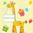 Giraffe with sample text board — Stock Photo