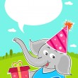 Elephant with birthday gift — Stock Photo