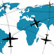 Airline route on world map - Stock Photo
