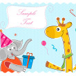 Elephant wishing giraffe happy birthday — Stock Photo #4164643