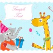 Elephant wishing giraffe happy birthday - Stock Photo