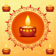 Diwali card decorated with diya — Stock Photo
