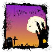 Halloween night with haunted castel — Stock Photo