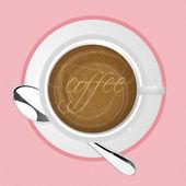 Ilustración de café en mesa con humo saliendo de ella — Foto de Stock