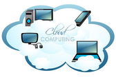 Computers on cloud — Stock Photo