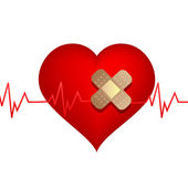 Wounded heart with bandage — Stock Photo