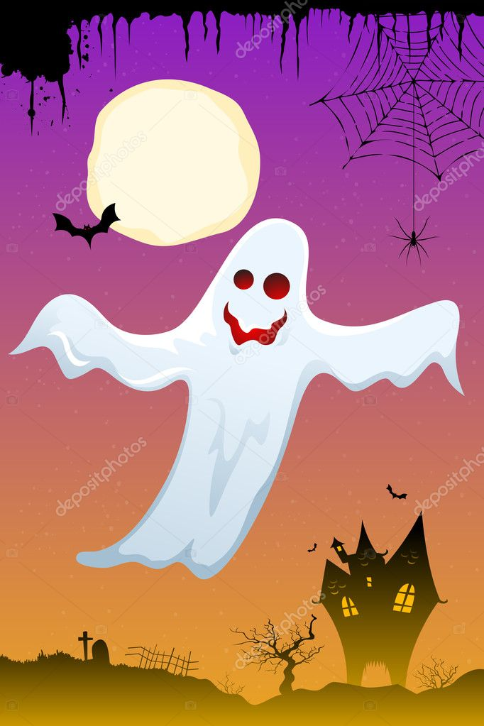 Illustration of halloween ghost flying in dark sky — Stock Photo #4164249