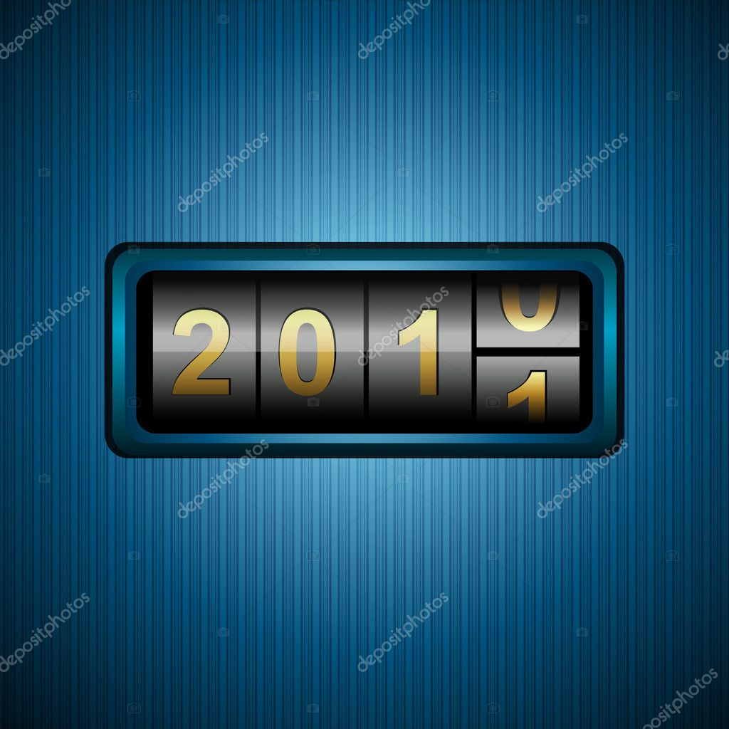 Illustration of welcoming 2011 in combination lock  Stock Photo #4164325