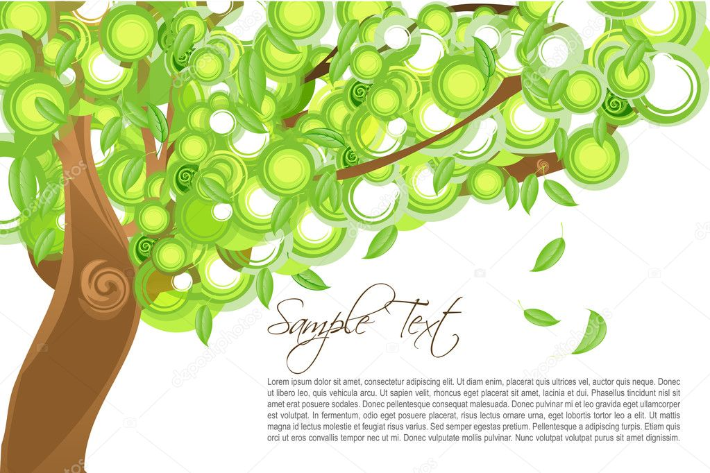 Illustration of leaves falling from tree with sample text — Stock Photo #4164402