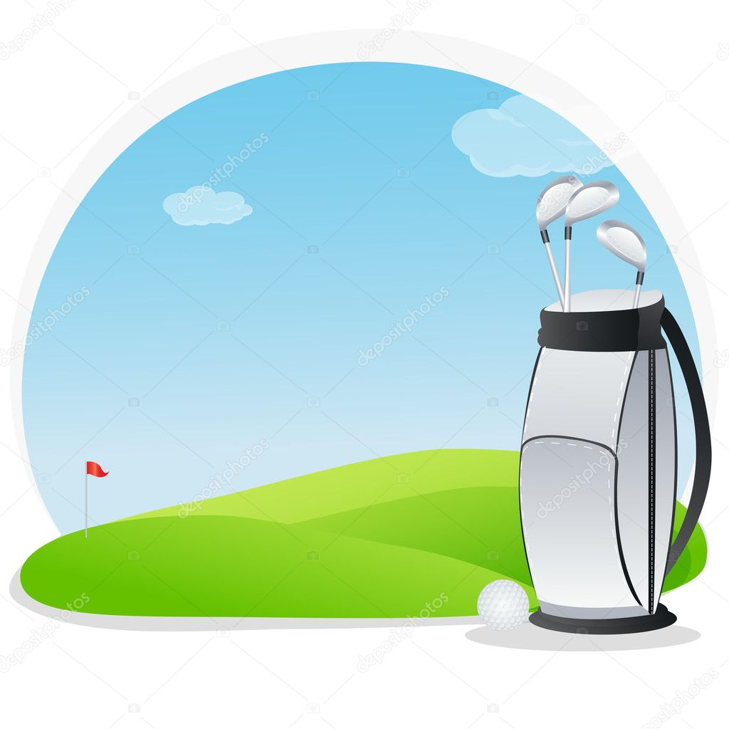 Illustration of golf kit in golf course — Stock Photo #4164419
