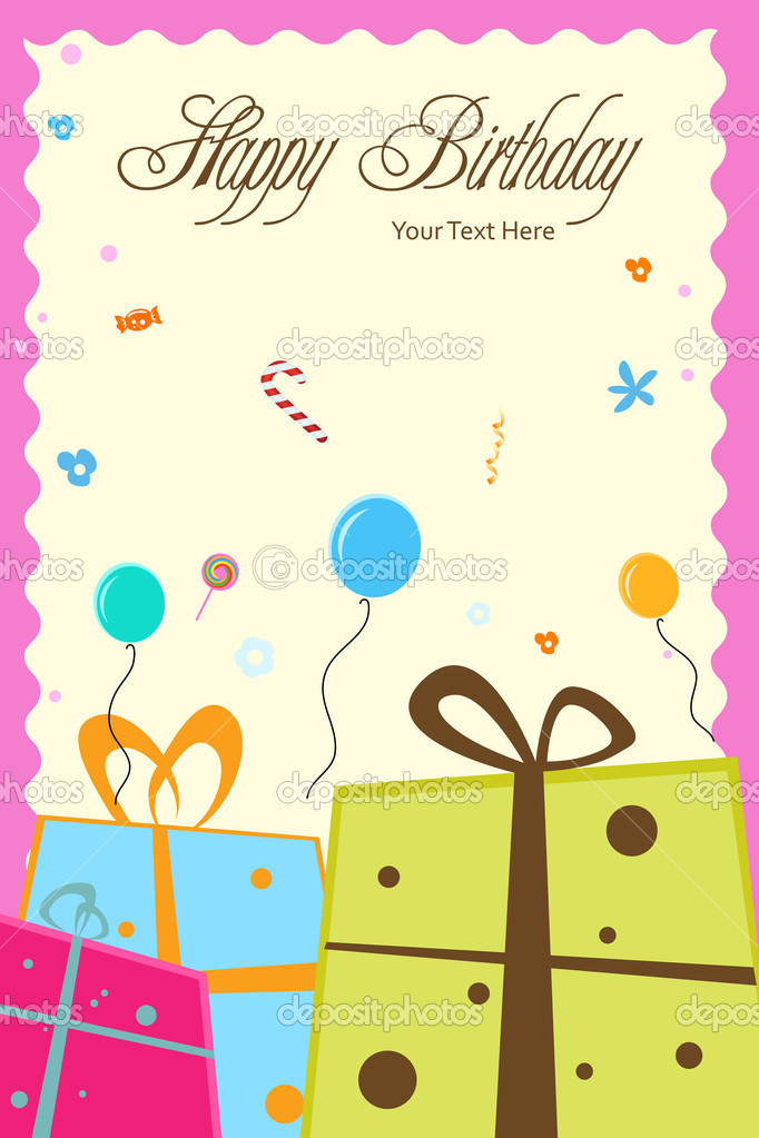 Illustration of birthday card with gift boxes,balloons and happy birthday text — Stock Photo #4164445