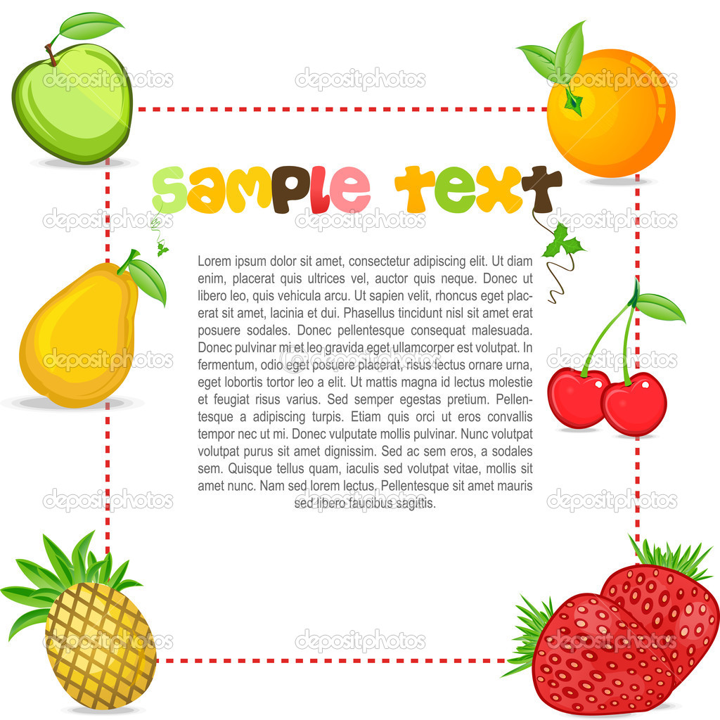 Illustration of text template with fruits — Stock Photo #4164519