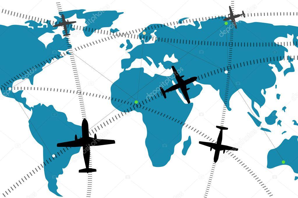 航空公司航线在世界地图上的插图