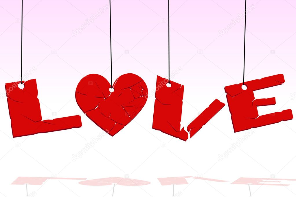 Illustration of love text hanging — Stock Photo #4164900