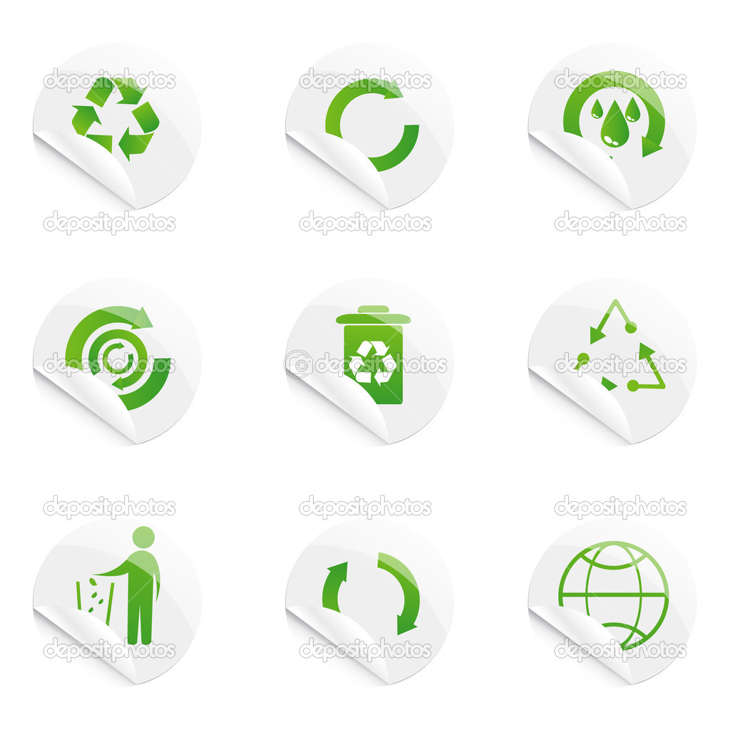 Illustration of recyle stickers on isolated background  Stock Photo #4165097