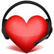 Headphone with heart — Stock Photo