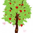Love bird flying around tree with heart — Stock Photo