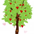 Love bird flying around tree with heart — Stock Photo #4246662