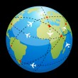 Globe showing air route — Stock Photo