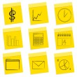 Royalty-Free Stock Photo: Business icons, sticky notes