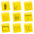 Business icons, sticky notes — Stock Photo