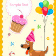 Puppy in birthday card — Stock Photo