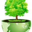 Green globe with tree - Stock Photo