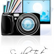 Camera with photographs - Stock Photo