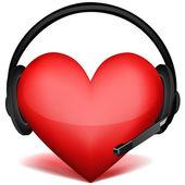 Casque d'écoute avec le cœur — Photo