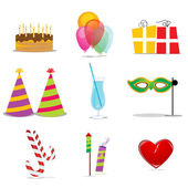 Birthday icons — Stock Photo