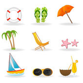 Beach icon set — Stock Photo