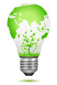 Growing plant inside global bulb — Stock Photo