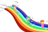 Kids sliding on rainbow — Stock Photo