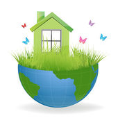 Green house on half earth — Stock Photo