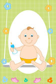 Baby in swing — Stock Photo