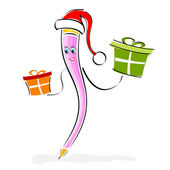 Pencil character with santa cap and gifts — Stock Photo