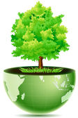 Green globe with tree — Stock Photo