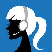 Lady with headphone — Stock Photo
