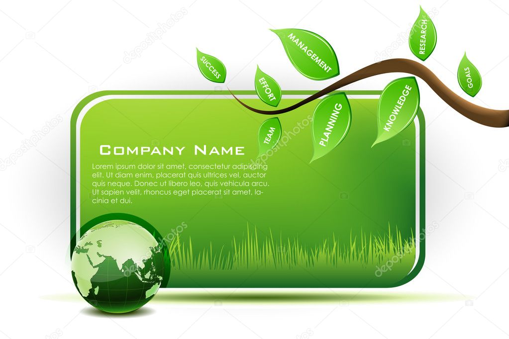 Illustration of world information with leaf,tree,globe on white background — Stock Photo #4246500