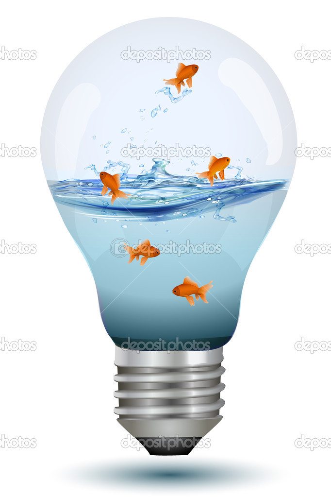 Illustration of natural bulb with water and fishes on white background — Stock Photo #4246527