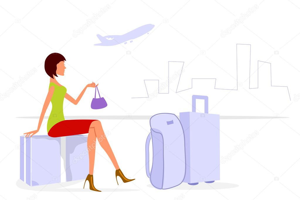 Illustration of journey lady on white background — Stock Photo #4246585