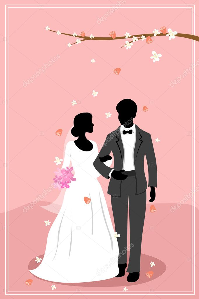 Illustration of married couple in flowery background — Stock Photo #4246812