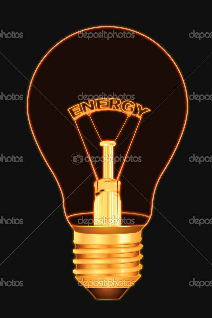 Illustration of energy text inside electric bulb — Stock Photo #4246893