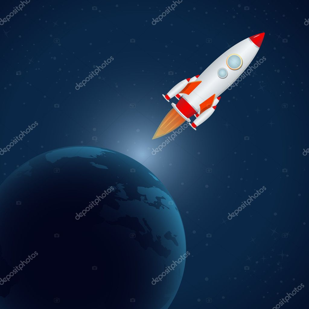 Illustration of rocket in universe — Stock Photo #4246980