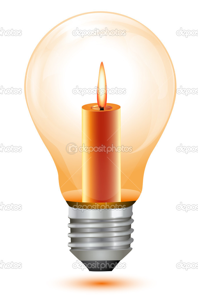 Illustration of candle bulb on white background  Foto de Stock   #4247129